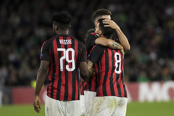 November 8, 2018 - Seville, Spain - SUSO of Milan (R) celebrates after scoring 1-1 during the Europa League Group F soccer match between Real Betis and AC Milan at the Benito Villamarin Stadium (Credit Image: © Daniel Gonzalez Acuna/ZUMA Wire)