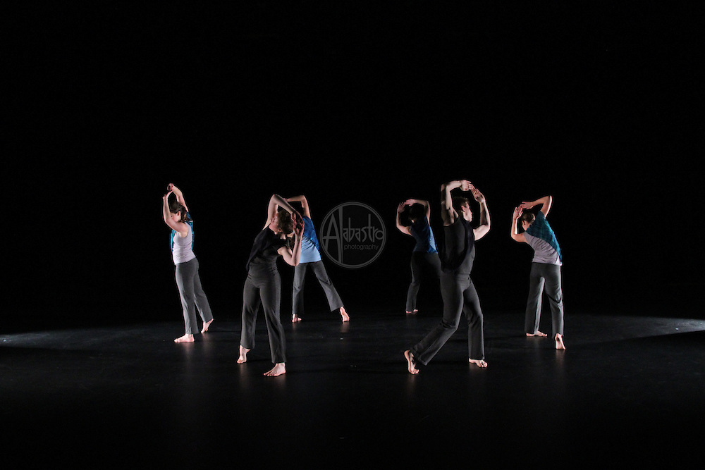 """Karin Stevens Dance performing """"Point of Departure"""" with the Starry Night Chamber Orchestra at The Black Box Theatre at Edmonds Community College."""