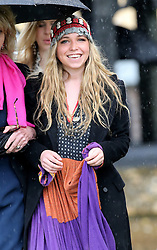 Mark Shand's 19-year-old daughter Ayesha arriving for his funeral at Holy Trinity Church, Stourpaine, Dorset, United Kingdom, Thursday, 1st May 2014. Picture by Stephen Lock / i-Images
