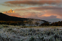 Frosty meadow near Oxbow Bend, sunrising on Grand Teton; Grand Teton NP., WY