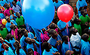 Children sponsored by Canadians, Americans and Germans release helium filled balloons as a symbolic thanks to their sponsors thousands of kilometres away.  The children are sponsored through programs run by the Church of God and Kinderhilfswerk.