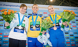 19.05.2012, Pieter van den Hoogenband Swimming Stadium, Eindhoven, NED, LEN, Turmspring Europameisterschaft 2012, Damen 3 Meter Springbrett, im Bild Anna Lindberg (SWE) gold medal, Uschi Freitag (GER) silver medal, Olena Fedorova (UKR) bronze medal // during Women's 3m springboard - preliminary of LEN Diving European Championships at Pieter van den Hoogenband Swimming Stadium, Eindhoven, Netherlands on 2012/05/19. EXPA Pictures © 2012, PhotoCredit: EXPA/ Insidefoto/ Giorgio Perottino..***** ATTENTION - for AUT, SLO, CRO, SRB, SUI and SWE only *****