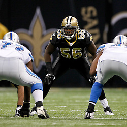 January 7, 2012; New Orleans, LA, USA; New Orleans Saints linebacker Jo-Lonn Dunbar (56) against the Detroit Lions during the 2011 NFC wild card playoff game at the Mercedes-Benz Superdome. Mandatory Credit: Derick E. Hingle-US PRESSWIRE