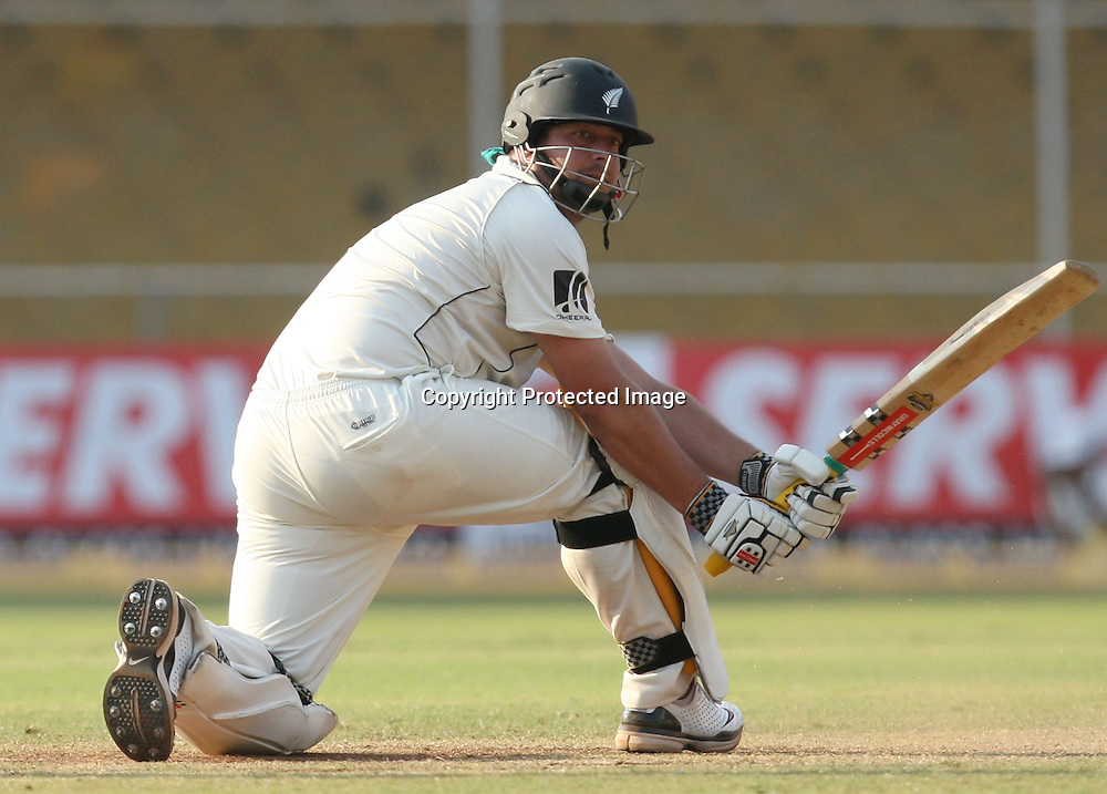 New Zealanad Batsman Jesse Ryder Hit The Shot Against India During The 1st Test Match India vs New Zealand Day-3 Played at Sardar Patel Stadium, Motera, Ahmedabad 6, November 2010 (5-day match)