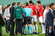 The England team and officials gather to discuss the racist chanting and gestures during the UEFA European 2020 Qualifier match between Bulgaria and England at Stadion Vasil Levski, Sofia, Bulgaria on 14 October 2019.