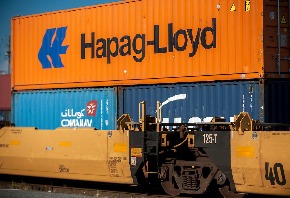 Georgia Ports Authority workers operate RTG's at the Chatham Rail Inter-model facility, Tuesday July 29, 2014, at the Garden City Terminal near Savannah, Ga.  (GPA Photo/Stephen B. Morton)