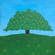 "Mike Harridge.<br /> ""Chestnut Tree""<br /> 89cm x 89cm <br /> Acrylic on Canvas   2017<br /> Rs. 90,000/-"