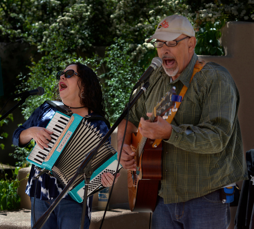 gbs043017a/ASEC -- Debo Orlofsky of Albuquerque, left, and Keith Levine of Albuquerque, members of Alpha Blue, perform during the 8th Annual ABQ Recycle Art Fair at the Open Space Visitor Center on Sunday, April 30, 2017. (Greg Sorber/Albuquerque Journal)