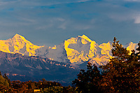 View from Bern toward the peaks of the Swiss Alps in the Bernese Oberland, Canton Bern, Switzerland