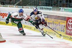 20.02.2015, Curt-Frenzel-Stadion, Augsburg, GER, DEL, Augsburger Panther vs EHC Red Bull München, 49. Runde, im Bild l-r: im Zweikampf, Aktion, mit Greg Moore #26 (Augsburger Panther) und Dominik Kahun #21 (EHC Red Bull Muenchen) // during Germans DEL Icehockey League 49th round match between Adler Mannheim and Grizzly Adams Wolfsburg at the Curt-Frenzel-Stadion in Augsburg, Germany on 2015/02/20. EXPA Pictures © 2015, PhotoCredit: EXPA/ Eibner-Pressefoto/ Kolbert<br /> <br /> *****ATTENTION - OUT of GER*****