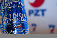 Bottle of Kinga Pieninska water - official partner during press conference before the BNP Paribas Davis Cup 2013 between Poland and Australia at Champions Bar in Warsaw on September 03, 2013.<br /> <br /> Poland, Warsaw, September 03, 2013<br /> <br /> Picture also available in RAW (NEF) or TIFF format on special request.<br /> <br /> For editorial use only. Any commercial or promotional use requires permission.<br /> <br /> Photo by © Adam Nurkiewicz / Mediasport
