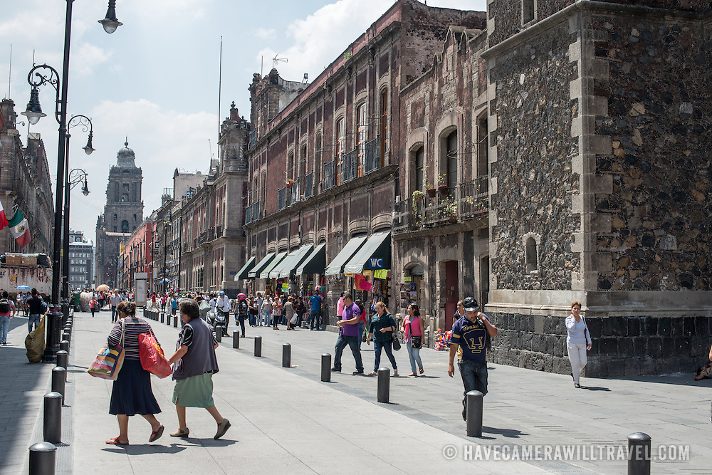 A view down Moneda in Centro Historico in the heart of Mexico City, Mexico.