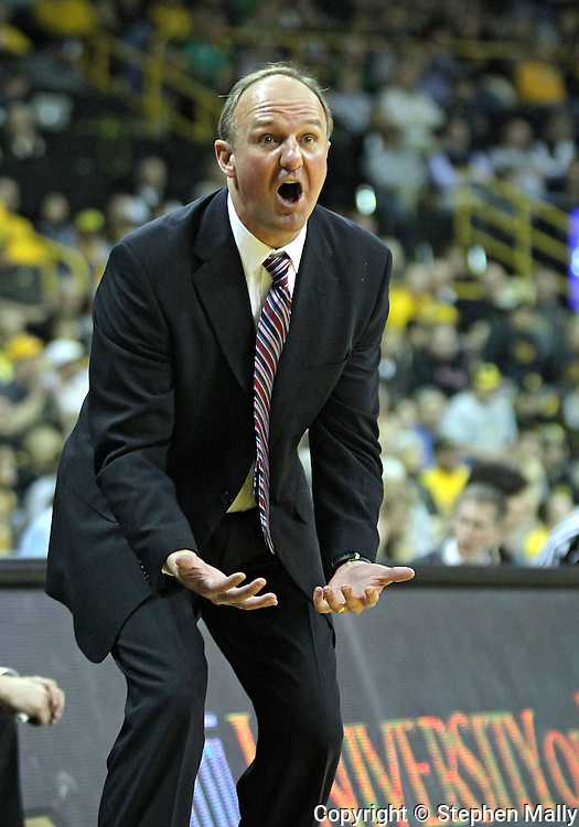 January 04 2010: Ohio State Buckeyes head coach Thad Matta argues a call during the first half of an NCAA college basketball game at Carver-Hawkeye Arena in Iowa City, Iowa on January 04, 2010. Ohio State defeated Iowa 73-68.
