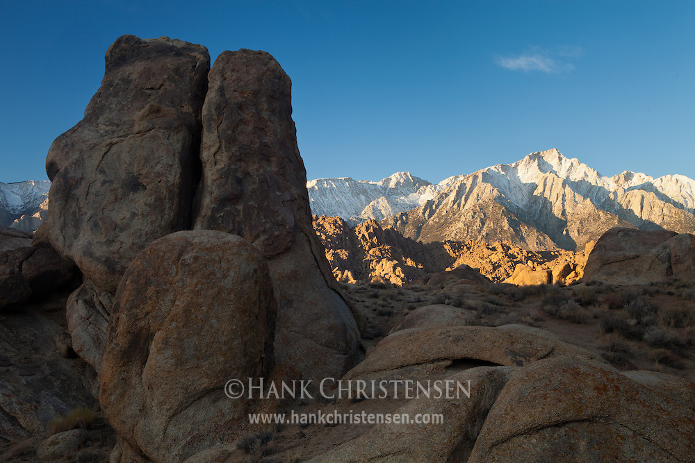 Lone Pine Peak towers over the rock formations of the Alabama Hills