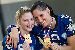 Alja Koren (R) and Tamara Mavsar of Krim celebrate after the last game of 1st A Slovenian Women Handball League season 2011/12 between ZRK Krka and RK Krim Mercator, on May 8, 2012 in Stopice at Novo mesto, Slovenia. RK Krim Mercator became Slovenian National Champion, GEN-I Zagorje placed second and ZRK Krka placed third. (Photo by Vid Ponikvar / Sportida.com)