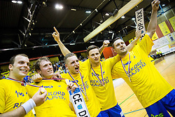 Uros Bundalo, David Miklavcic of Celje PL, Gasper Marguc of Celje PL, Rok Zuran of Celje PL and Luka Zvizej of Celje PL celebrate after winning during handball match between RK Gorenje Velenje and RK Celje Pivovarna Lasko in Final match of 1st NLB League - Slovenian Championship 2013/14 on May 23, 2014 in Rdeca dvorana, Velenje, Slovenia. RK Celje Pivovarna Lasko became 18-times Slovenian National Champion. Photo by Vid Ponikvar / Sportida