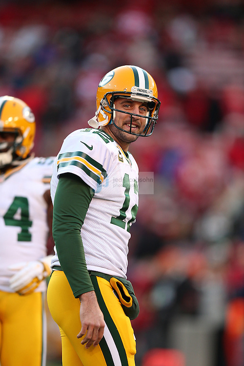 Green Bay Packers quarterback Aaron Rodgers (12) warms up during a NFL Divisional playoff game against the San Francisco 49ers at Candlestick Park in San Francisco, Calif., on Jan. 12, 2013. The 49ers defeated the Packers 45-31. (AP Photo/Jed Jacobsohn)