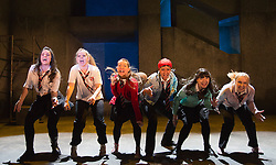 """© Licensed to London News Pictures. 12/02/2013. London, England. L-R: Roanna Davidson, Dawn Sievewright, Joanne McGuinness, Amaka Okafor, Amiera Darwish and Stephanie McGregor. London premiere of the musical """"Glasgow Girls"""" written by David Greig and directed by Cora Bissett at the Theatre Royal Stratford East. Photo credit: Bettina Strenske/LNP"""
