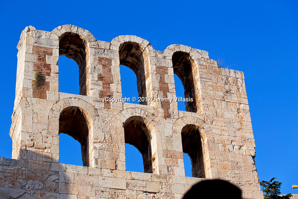 Detail of the facade of the Odeon of Herodes Atticus on the southwest slope of the Acropolis of Athens.