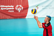Katowice, Poland - 2017 September 02: Athlete Dominik Hohwieler from SO Germany serves the ball while SO Germany versus SO Belarus during European Unified Volleyball Tournament 2017 at Spodek Hall on September 02, 2017 in Katowice, Poland.<br /> <br /> Adam Nurkiewicz declares that he has no rights to the image of people at the photographs of his authorship.<br /> <br /> Picture also available in RAW (NEF) or TIFF format on special request.<br /> <br /> Any editorial, commercial or promotional use requires written permission from the author of image.<br /> <br /> Image can be used in the press when the method of use and the signature does not hurt people on the picture.<br /> <br /> Mandatory credit:<br /> Photo by © Adam Nurkiewicz / Mediasport