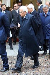 SERGIO MATTARELLA ESCE DALLA PREFETTURA<br /> VISITA PRESIDENTE REPUBBLICA SERGIO MATTARELLA MOSTRA DE CHIRICO E CASTELLO<br /> FERRARA 13-11-2015<br /> FOTO FILIPPO RUBIN