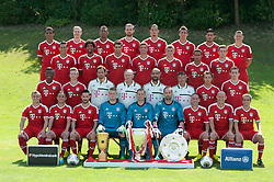 18.07.2013, Saebener Strasse, Muenchen, GER, 1. FBL, Fototermin FC Bayern Muenchen, im Bild, Hintere Reihe v.l.: Luiz GUSTAVO (FC Bayern Muenchen), Holger BADSTUBER (FC Bayern Muenchen), Jerome BOATENG (FC Bayern Muenchen), Jan KIRCHHOFF (FC Bayern Muenchen), Daniel VAN BUYTEN (FC Bayern Muenchen), Mario MANDZUKIC (FC Bayern Muenchen), Emre CAN (FC Bayern Muenchen) und Bastian SCHWEINSTEIGER (FC Bayern Muenchen), Vorletzte Reihe v.l.: Claudio PIZARRO (FC Bayern Muenchen), DANTE (FC Bayern Muenchen), Javier MARTINEZ (FC Bayern Muenchen), Thomas MUELLER (FC Bayern Muenchen), Toni KROOS (FC Bayern Muenchen), Thiago ALCANTARA (FC Bayern Muenchen) und Patrick WEIHRAUCH (FC Bayern Muenchen), 2.Reihe von vorne: David ALABA (FC Bayern Muenchen), Mitchell WEISER (FC Bayern Muenchen), Torwart-Trainer Toni TAPALOVIC, Co-Trainer Hermann GERLAND (FC Bayern Muenchen), Trainer Pep GUARDIOLA (FC Bayern Muenchen), Co-Trainer Domenec TORRENT, Mario GOETZE (FC Bayern Muenchen), und Pierre-Emile Hoejbjerg (FC Bayern Muenchen), voreder reihe v.L.: Xherdan SHAQIRI (FC Bayern Muenchen). RAFINHA (FC Bayern Muenchen), Torwart Lukas RAEDER (FC Bayern Muenchen), Torwart Manuel NEUER (FC Bayern Muenchen), Torwart Tom STARKE (FC Bayern Muenchen), Franck RIBERY (FC Bayern Muenchen), Arjen ROBBEN (FC Bayern Muenchen) und Philipp LAHM (FC Bayern Muenchen) // during a Photo Shoot of the German Bundesliga Club FC Bayern Munich at the Saebener Strasse, Munich, Germany on 2013/07/18. EXPA Pictures © 2013, PhotoCredit: EXPA/ Eibner/ Wolfgang Stuetzle<br /> <br /> ***** ATTENTION - OUT OF GER *****