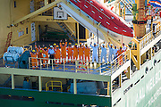 Crew onboard the AAL Melbourne arriving in Saldanha