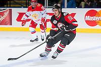 KELOWNA, CANADA - NOVEMBER 9: Mathew Barzal #13 of Team WHL skates with the puck against the Team Russia on November 9, 2015 during game 1 of the Canada Russia Super Series at Prospera Place in Kelowna, British Columbia, Canada.  (Photo by Marissa Baecker/Western Hockey League)  *** Local Caption *** Mathew Barzal;