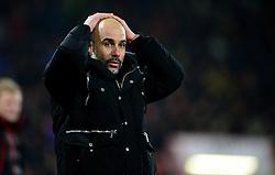 Manchester City manager Josep Guardiola reacts.  - Mandatory by-line: Alex James/JMP - 13/02/2017 - FOOTBALL - Vitality Stadium - Bournemouth, England - Bournemouth v Manchester City - Premier League