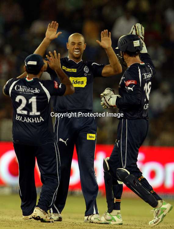 Deccan Chargers Andrew Symonds Celebrates With Team Mates Dinesh Kaethik Wicket During The Indian Premier League - 15th match Twenty20 match 2009/10 season Played at Barabati Stadium, Cuttack 21 March 2010 - day/night (20-over match)