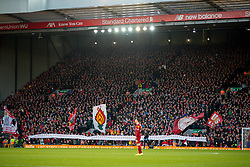 LIVERPOOL, ENGLAND - Saturday, November 30, 2019: Liverpool supporters on the Spion Kop display a banner remembering the 96 victims of the Hillsborough Disaster before the FA Premier League match between Liverpool FC and Brighton & Hove Albion FC at Anfield. (Pic by David Rawcliffe/Propaganda)