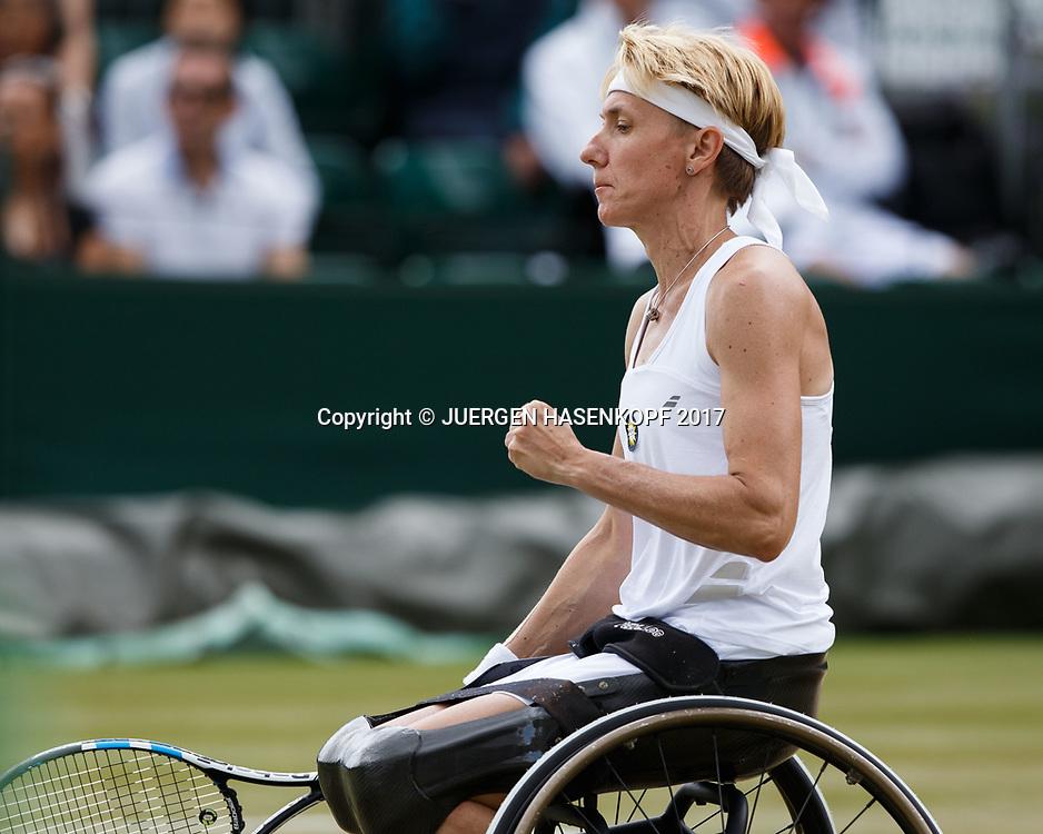 SABINE ELLERBROCK (GER) macht die Faust und jubelt,Jubel,Emotion, Rollstuhl Tennis<br /> <br /> Tennis - Wimbledon 2017 - Grand Slam ITF / ATP / WTA -  AELTC - London -  - Great Britain  - 14 July 2017.