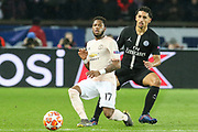 Manchester United Midfielder Fred battles with Marquinhos of Paris Saint-Germain during the Champions League Round of 16 2nd leg match between Paris Saint-Germain and Manchester United at Parc des Princes, Paris, France on 6 March 2019.