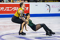 KELOWNA, BC - OCTOBER 25: Russian ice dancers Betina Popova and Sergey Mozgov perform during the rhythm dance at Skate Canada International held at Prospera Place on October 25, 2019 in Kelowna, Canada. (Photo by Marissa Baecker/Shoot the Breeze)