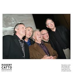 Three decades of NZ feature filmmaking were celebrated at the Film Archive on 6 October 2007 with a special gala screening of Sleeping Dogs, Roger Donaldson's 1977 debut feature film...Sleeping Dogs was the first NZ feature to be released in the United States, was highly successful in the Soviet Union and is credited with being the leading driver for the establishment of the New Zealand Film Commission...Seen here are Larry Parr, Geoff Murphy, actors Ian Mune and Bernard Kearns, and Don Brash..