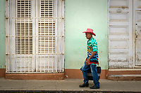 TRINIDAD, CUBA - CIRCA JANUARY 2020: Local on the streets of Trinidad