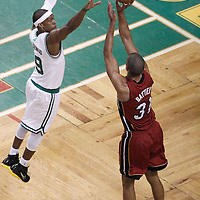 07 June 2012: Miami Heat small forward Shane Battier (31) takes a jumpshot over Boston Celtics point guard Rajon Rondo (9) during first half of Game 6 of the Eastern Conference Finals playoff series, Heat at Celtics at the TD Banknorth Garden, Boston, Massachusetts, USA.