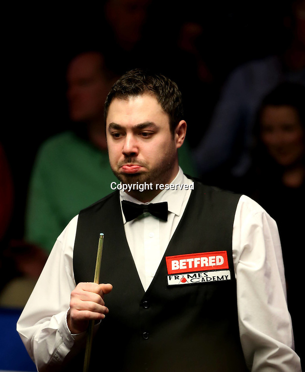 19.04.2015. Sheffield, Yorkshire, England.  Kurt Maflin of Norway competes during the first half of the first round match against Mark Selby of England at the 2015 World Snooker Championship in Crucible Theatre, Sheffield, England on April 18, 2015. Maflin lost 9-10.