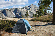 Backpacking tent at Snow Creek overlooking Half Dome, Yosemite National Park