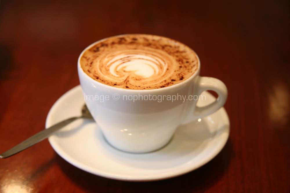 Close up of a cup of cappuccino coffee