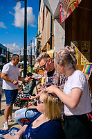 Humber Street, Kingston Upon Hull, East Yorkshire, United Kingdom, 05 August, 2017. Pictured: Mousey Browns, festival hairdressing, Humber Street SESH