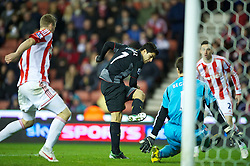 STOKE-ON-TRENT, ENGLAND - Boxing Day Wednesday, December 26, 2012: Liverpool's Luis Alberto Suarez Diaz sees his shot go wide against Stoke City during the Premiership match at the Britannia Stadium. (Pic by David Rawcliffe/Propaganda)
