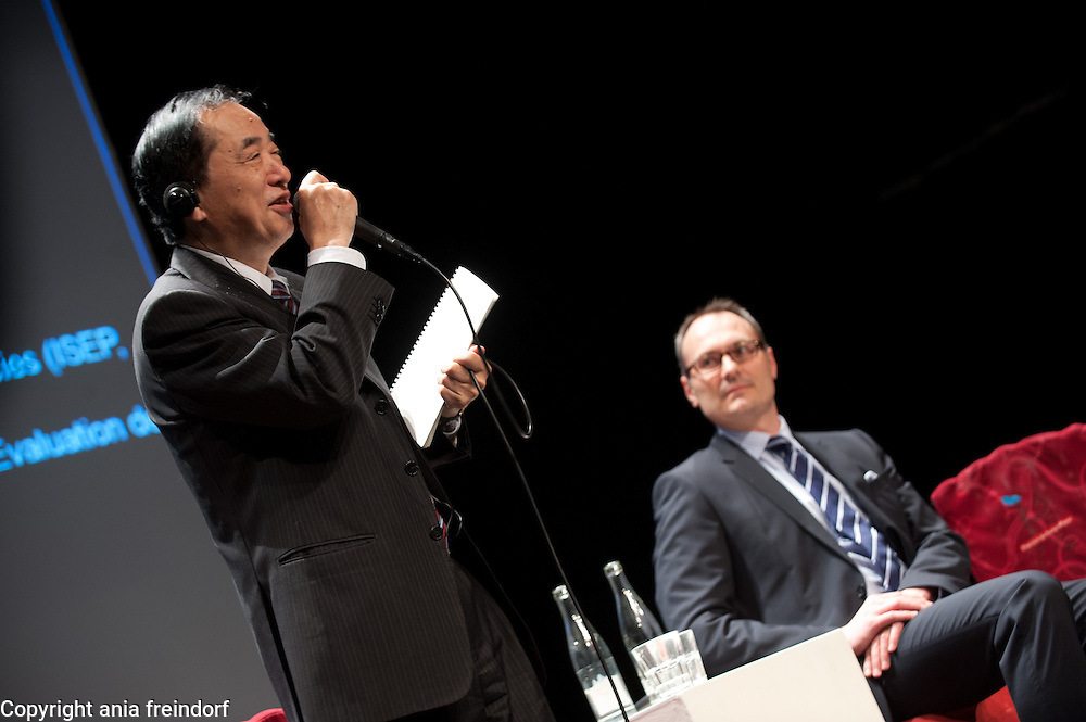 """Conference """"Fukushima, nuclear accident - four years later"""", (right) Green Cross Paris, France, COO Green Cross International Adam Koniuszewski, Naoto Kan ancient Prime Minister of Japan, he resigned six months after the Fukushima nuclear accident."""