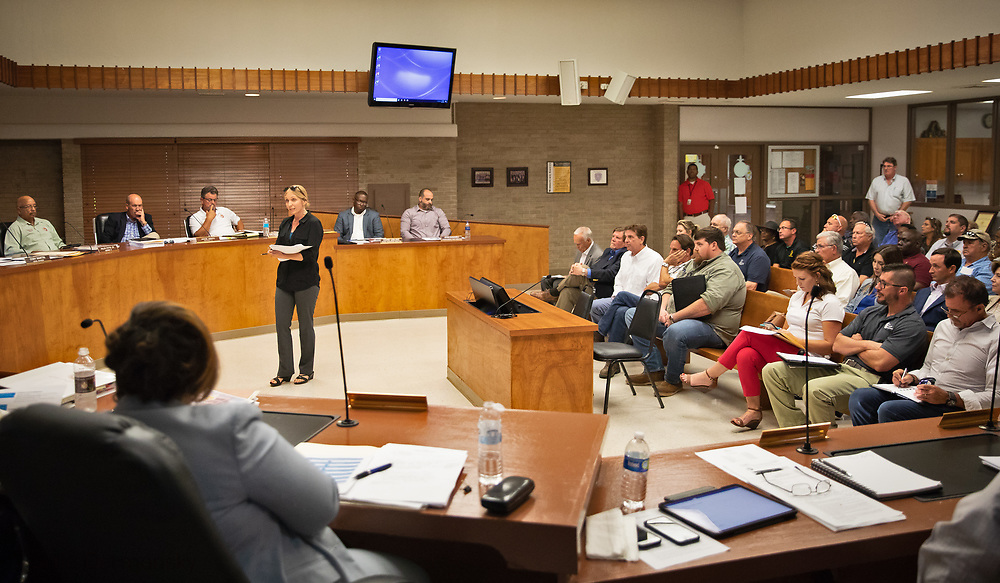 Kimberly Terrell with the Tulane Environmental Law Clinic at the July 24 council meeting.  THe Tulane Environmental Law Clinic (TELC) is representing community members, RISE St. James and the Louisiana Bucket Brigade in a fight to stop the plant from being permitted.