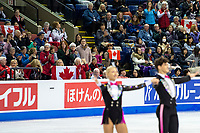 KELOWNA, BC - OCTOBER 25:  Fans wave Canadian flags in support of Canadian ice dancers Piper Gilles and Paul Poirier perform during rhythm dance at Skate Canada International at Prospera Place on October 25, 2019 in Kelowna, Canada. (Photo by Marissa Baecker/Shoot the Breeze)