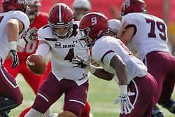 NORMAL, IL - October 13: Sam Straub offers the handoff to D.J. Davis during a college football game between the ISU (Illinois State University) Redbirds and the Southern Illinois Salukis on October 13 2018 at Hancock Stadium in Normal, IL. (Photo by Alan Look)
