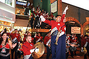 The University of Arizona's Bear Down Friday, a pep rally at the Main Gate Square the evening before the homecoming football game, Tucson, Arizona, USA.