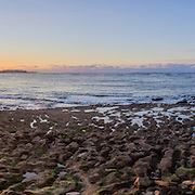 Panoramic Sunset Atlantic Ocean view at Dar Bouazza beach, Casablanca. Morocco.