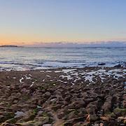 Panoramic Sunset Atlantic Ocean view at Dar Bouazza beach, Casablanca. Morocco.