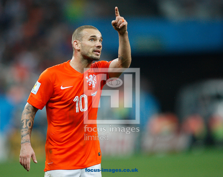 Wesley Sneijder of Netherlands during the 2014 FIFA World Cup match at Arena Corinthians, Sao Paulo<br /> Picture by Andrew Tobin/Focus Images Ltd +44 7710 761829<br /> 09/07/2014
